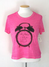 NWT Aeropostale Bethany Mota Routine Boxy Graphic T Shirt Pink Cropped Tee Top