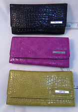 KENNETH COLE Reaction Croc Patent Checkbook Wallet NWT $50
