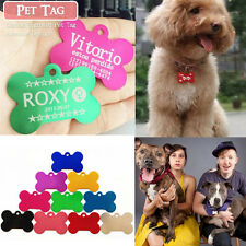 Hot DOUBLE SIDED Personalised Bone Shape Pet Puppy Dog Cat Tag Pet ID Name Tags