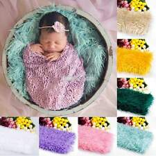 Newborn Baby Faux Wool Basket Photography Photo Props Stuffer Blanket Rug S0BZ