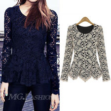 New Women Long Sleeve Blouse Crew Collar Lace Shirts Peplum Blouse Tee Top Shirt