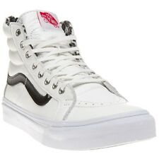 New Womens Vans White Sk8-Hi Slim Zip Leather Trainers Hi Top Lace Up