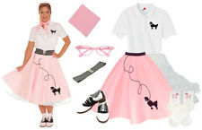 Hip Hop 50s Shop Womens 8 pc Light Pink Poodle Skirt Halloween Costume Set