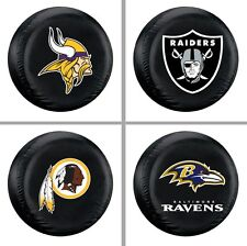 Choose NFL Team Heavy Black Vinyl Spare Tire Cover  - Standard Size Up to 29""