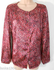 M&S Classic Red Mix Shiny Party Blouse Tunic Top (NEW) Sizes: 10, 16, 18 or 20