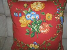 Gorgeous Pierre Deux Pillow Gittens Red Yellow Blue French Country Floral Toile
