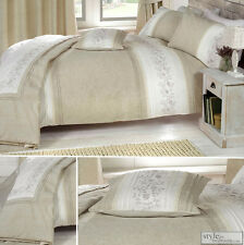 Embroidered Natural Linen Duvet Quilt Cover Bedding or Quilted Bedspread Throw