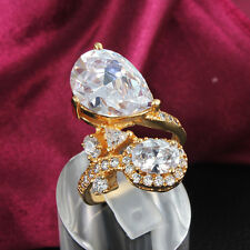 Hot Selling 18K Gold White Gold Rings Ellipse Zircon Clear Crystal Creative Gift