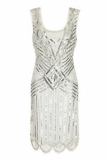 ***SALE*WHITE VINTAGE CHARLESTON FLAPPER uk 8 - 16 GATSBY dress 20'sART DECO