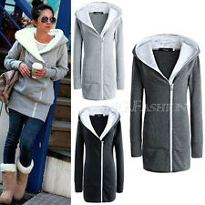 Womens New Double Zips Long Sweatshirt Hoodie Jacket Coat Sweater UK Size 8-22