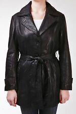 Trench Ladies Black Mac Classic Mid-Length Designer Real Soft Leather Coat