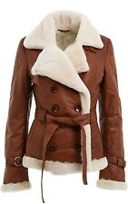 Ladies Double Breasted Real Shearling Sheepskin Aviator Tan Leather Jacket