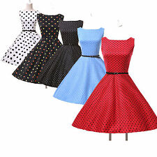 CHEAP Red Vintage Rockabilly Polka Dot Retro Swing 50s 60s pinup Housewife Dress