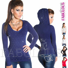 New Sexy Ladies Sweater Size 6 8 10 Silver Studded Pullover Jumper Top Hoodie