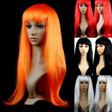 Women's Girls Stylish Long Straight Wigs Hair Cosplay Party Wigs Long Bangs  J31