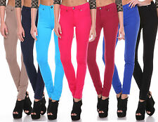 Womens Stretch Candy Pencil Pants Casual Slim Fit Skinny Jeans Trousers S-XL