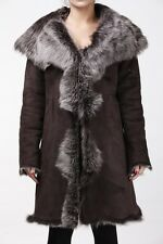 Ladies Women's Brown With Grey Real Toscana Sheepskin Leather Trench Hooded Coat