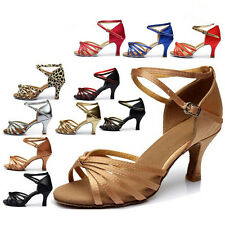 10 Color Sexy Women Satin Ballroom Salsa Latin Dance Shoes Tango Heeled Shoes