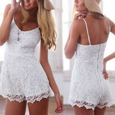 Neu Damen Sommer Spitze Lace Spaghetti Träger Overalls Shorts Party Abend Kleid