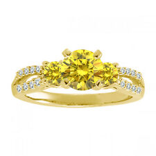 1.5 Carat GH Diamond Fancy 3 Three Stone Anniversary Bridal Ring 14K Yellow Gold