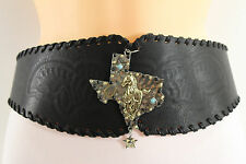 Women Fashion Wide Belt Hip Waist Black Brown Western Faux Leather Texas Rodeo S