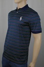 Polo Ralph Lauren Navy Blue Striped Pro Fit Big White Pony Pima Golf Shirt NWT