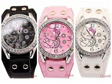 1 pcs HelloKitty Cystal lady Girl wrist Student leather Watch quartz gift ZW138