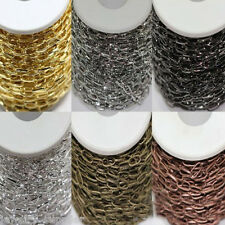 1/10M Silver/Golden Size10x5mm Plated Metal Cross Chain 6 Colors Ring Crafts