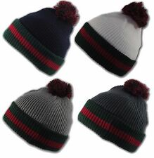 State Property Designer Style Green Red Straight Knit Winter Beanie Bobble Hat