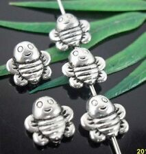 Wholesale 46/100Pcs Tibetan Silver Bee Spacer Beads 9x4mm(Lead-free)