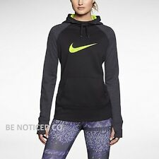 NWT Women's Nike Swoosh Out All Time Hoodie Black Gray Volt XS S M Gym New