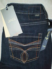 Jag Russo Mid Slim Straight Leg Petite Womens Stretch Denim Blue Jeans New $92