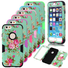 Peony Floral Dual Layers PC Soft Silicone Combo Case Cover For iPhone 6 6S Plus