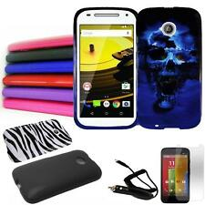 "Phone Case For Moto E 4G LTE Hard Cover Car Charger Screen Protector 4.5""display"
