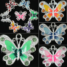 5Pcs Silver Plated Enamel Rhinestone Butterfly Charm Pendant Finding DIY 22*20mm