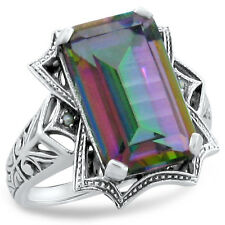 6 CT HYDRO MYSTIC QUARTZ & PEARL ANTIQUE STYLE .925 STERLING SILVER RING,   #274