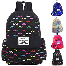 New Fashion Canvas Travel Mustache Backpack Rucksack School Bags Satchel Bookbag
