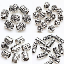 50/100Pcs Charm Tibet Silver Tube Loose Spacer Beads Pendant Jewelry Finding DIY