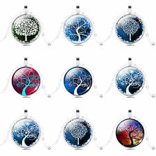 NEW! Pretty Handmade Vintage Life tree Glass Cabochon Pendant Necklace Gift