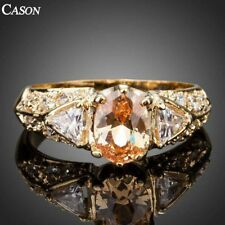Cubic Zirconia Women Wedding Ring 18K Yellow Gold Plated Engagement Ring Gift