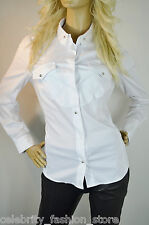 Karen Millen White Tailored Stretch Cotton Stud Popper Smart Shirt Blouse 8 - 14