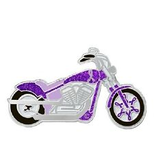 Purple Ribbon Pin Motorcycle Awareness Epilepsy Cystic Fibrosis Cancer Causes
