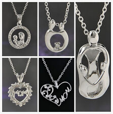 Mother's Day Gift Necklace Charm  Crystal Mom&Baby Heart Love Pendant Necklace