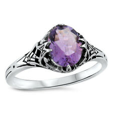GENUINE AMETHYST ANTIQUE ART DECO STYLE .925 STERLING SILVER FILIGREE RING, #441