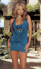 SeXy Silky HALTER EVENING DRESS Knit Chemise BEADED NECKLACE Shirley Hollywood