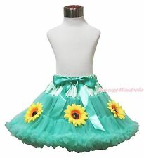 Princess Anna Summer Sunflower Aqua Blue Girls Skirt Pettiskirt Dance Tutu 1-8Y