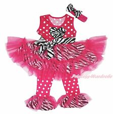 Hot Pink Dot Girl Vest Top Zebra Heart Dance Ruffle Tutu Dress Pants Outfit 1-8Y