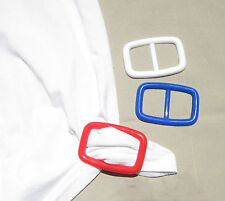Tee shirt clip pull holder oblong buckle shape red white blue t-shirt tie NEW