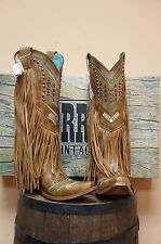 WOMEN'S CORRAL BOOT WITH MULTICOLOR CRYSTAL PATTERN & FRINGE!! NEW! STYLE C2910!