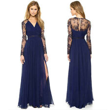Women Lace Chiffon Evening Formal Party Cocktail Ball Prom Gown Long Maxi Dress